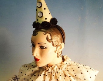 Clown Costume, Hat and Collar, Circus, Burlesque, Halloween Costume, 1930s , Polka Dot, Black, Ivory White, Batcakes Couture