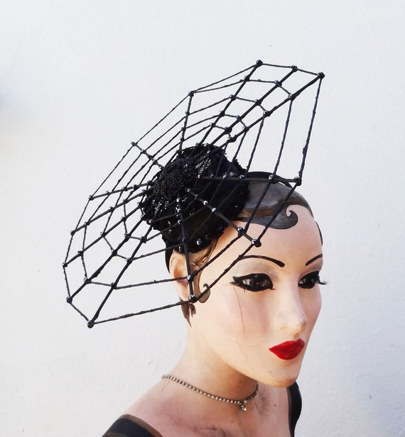 Halloween Costume, Spider Hat, Spider Web Fascinator, Witch, Couture, Cocktail Hat, Halloween Head Dress Batcakes Couture