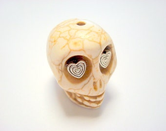 Gigantic Ivory Howlite Skull Bead or Pendant  with Silver Hearts in Eyes