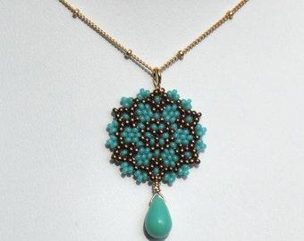 Beadwoven Single Mandala Necklace / Aqua Czech Glass Teardrop / Gold-Filled Chain/ / Delicate/ Unique/ Feminine/ Holiday Gift  - - - Ynes