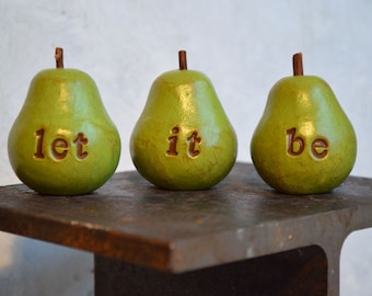 Beatles gift / let it be / Three handmade keepsake clay pears / gift for her / gift for music fans