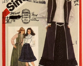 Vintage 80's Sewing Pattern, Skirt, Blouse and Vest, Girls Junior/Teen Size 9/10