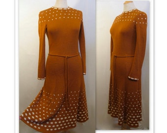 70s Intarsia Knit Belted Dress S Bronze with White Clouds