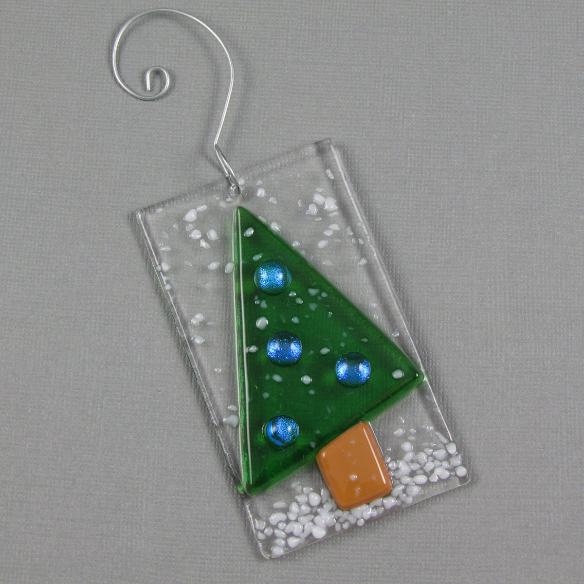 Snowy Christmas Tree Ornament Fused Glass Dichroic Glass