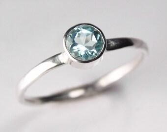 Blue Topaz Ring - Gemstone Stack Ring - Silver Blue Topaz Jewelry - December Birthstone - Silver Stacking Ring - Minimalist Ring