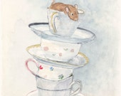 Mouse Watercolor Painting Art Print 5x7 China Teacups Wall Art Kitchen Home Decor Great Gift