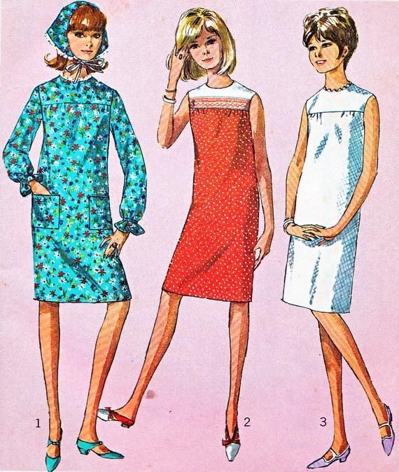 Items Similar To 1960s Dress Pattern Simplicity 6371 Mod Yoked Shift Dress Sleeveless Or Long