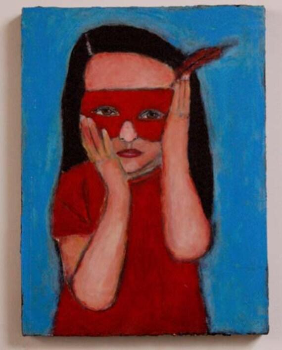 Little Worried Superhero Girl wearing red masquerade mask 9x12 Original Painting