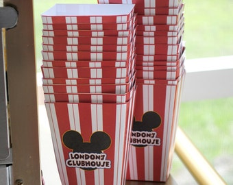 DIGITAL Snack Cup or Popcorn Box Inspired by Mickey Mouse Club in Red, Black, Yellow with Red Stripes, Ears perfect for favors or snacks