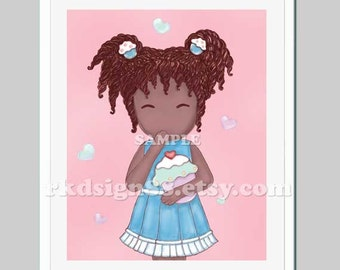 African nursery art print, kids wall art, children decor, girl art print, kitchen art print, cupcake print - Oops, More Lovely Cupcake 8x10
