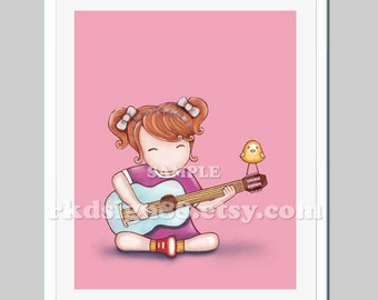 Nursery art girl, Guitar wall art, music art, baby girl nursery decor, kids art, nursery art work, red hair - Guitar Lesson 2