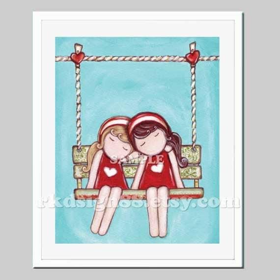 Whimsical nursery art print, baby girl nursery wall art, children decor, girl room decor, twin art, brown & blonde - Day Dream 8 x 10