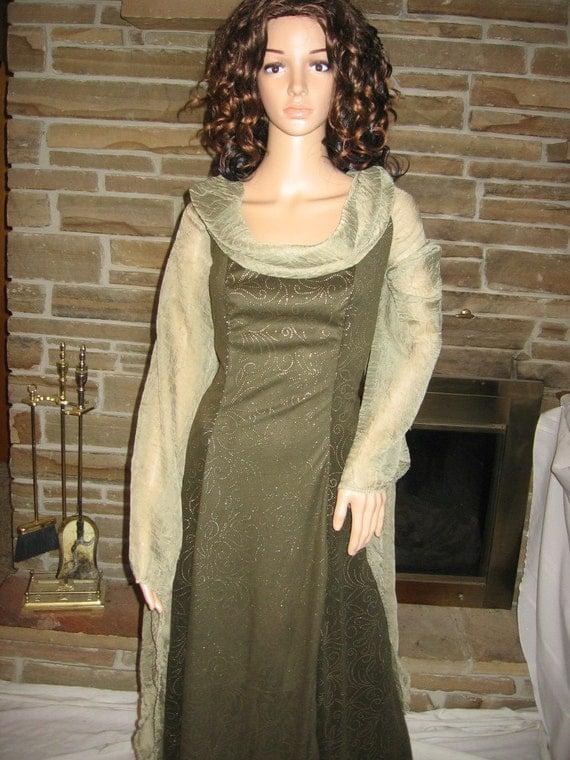 Olive Green Stretch Suede Renaissance Medieval Maiden Tudor Flowy Gown Dress ORIGINAL PRICE 165.00