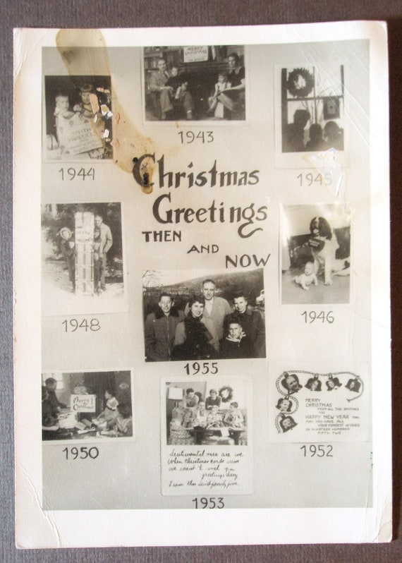 Vintage Christmas Card from the 1950s, Christmas Greetings Then and Now