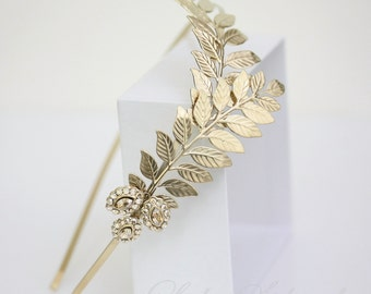 Gold bridal headband Grecian leaves headpiece Gold Leaf Wedding Headband Wedding Hair Accessories Side Tiara Golden Shadow Crystal  SOFIA