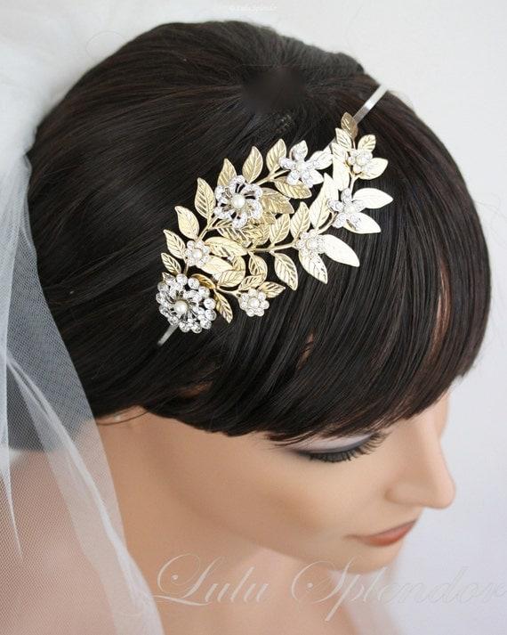 Bridal Headband Grecian Headband Leaf Headpiece Swarovski Rhinestone Pearl Wedding Hair Accessories, Eliana Garden