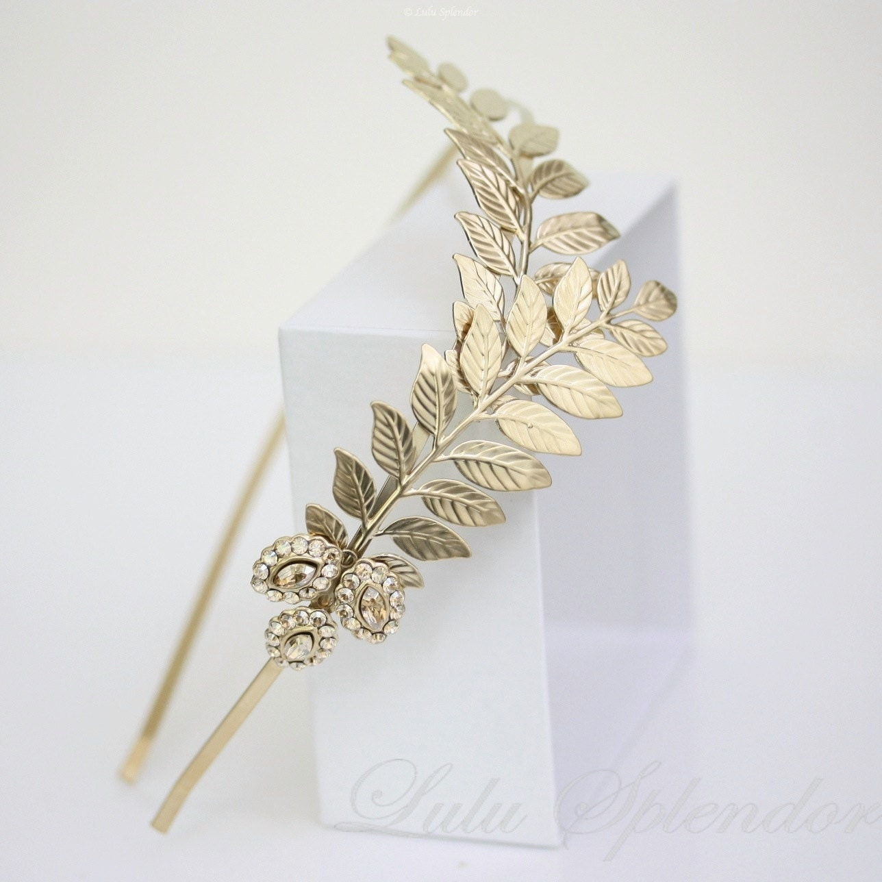 Gold Bridal Headband Grecian Leaves Headpiece Gold Leaf