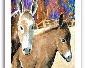 """Donkey Burro Art """"Burros"""" Prints Signed and Numbered"""