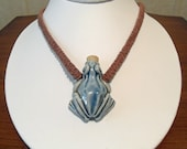 Frog Ceramic Bottle Hemp Necklace