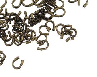 144 Antique Brass Wire Guardians - Dark Brass Wire Protectors - Brass Oxide Wire Guards - Antique Bronze Findings (FB9)