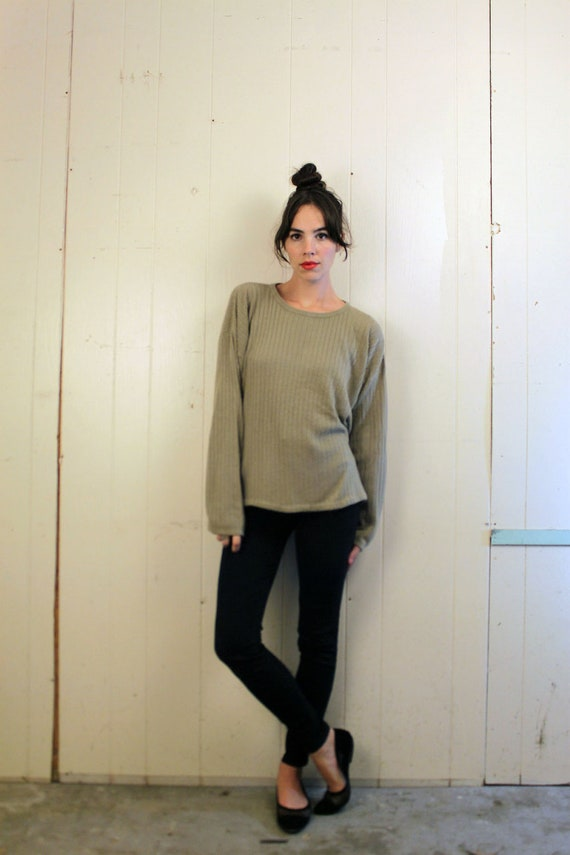 1990s Oatmeal Slouchy Ribbed Sweater Size M