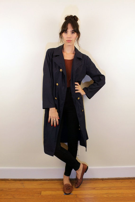 1970s Navy Trench Coat with Gold Buttons Size S
