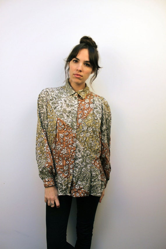 1990s Floral Button Up Oxford Size S-M