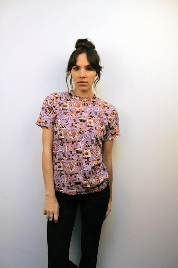 1990s Purple Southwestern Print T-Shirt Size S