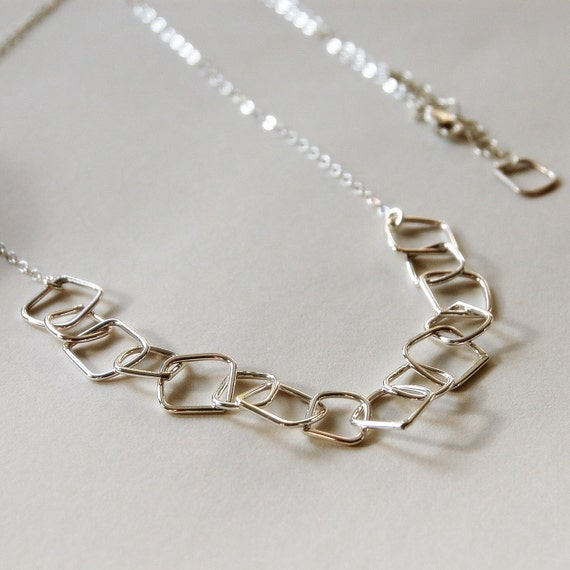 Abstract Square Chain Link Necklace in Sterling Silver: Long Necklace - Organic, Modern Jewelry - Delicate Chain - by kusu