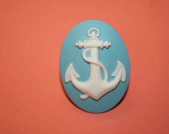 Large Teal Anchor Cameo Ring