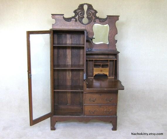 1900s Art Nouveau Desk & Glass Display Cabinet