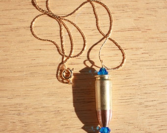 Bullet Necklace, 14K Gold Chain and Cobalt Blue Crystal, Beautiful and Tough