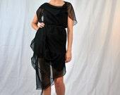 Cascade Dress/Tunic - Asymmetrical Black Chiffon Modern Minimalist - Made To Order