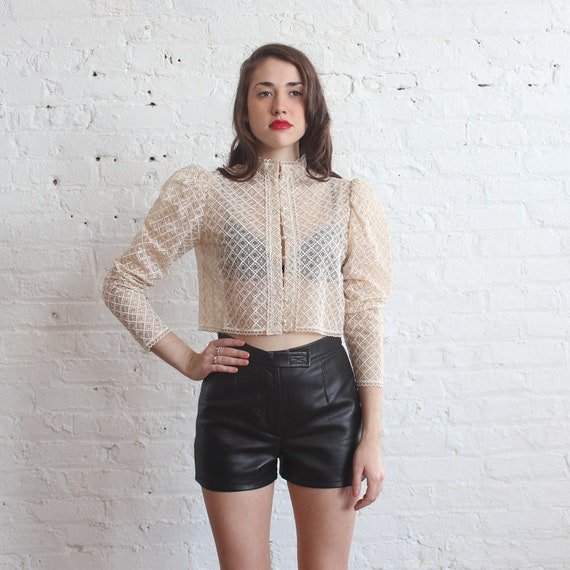 lace jacket ivory victorian top (s/m)