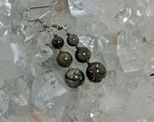 Michigan Petoskey stone beaded earrings natural stones fossil beads