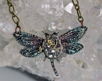 Dragonfly pendant necklace with jeweled  vintage watch movement rubies fashion  steampunk goth art  sculpture