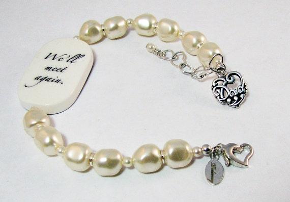 Custom Pearl Bracelet, Lg. Photo Charm with Sterling DAD Charm -  P1RaB3