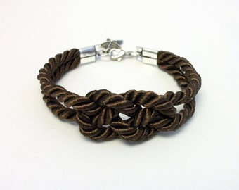 Dark brown double infinity knot nautical rope bracelet with silver starfish charm