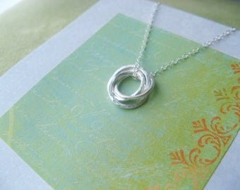 FOUR SiSTERS Necklace with Poem  4 Sisters Sterling Silver INSEPARABLe RINGs Friendship - Gift Wrapped