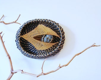 Moon Wall Sculpture, Pine Needle Basket - Honeywing Catches the Spritely Moon, Woven Wall Hanging, Catching the Moon