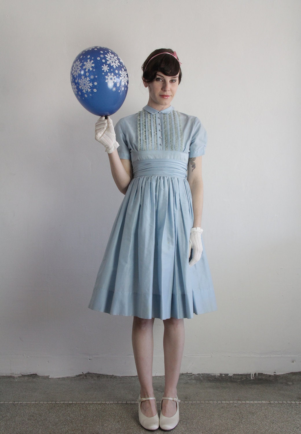 Vintage 50s Dress Baby Blue Lace Ruffle 1950s Formal Gown
