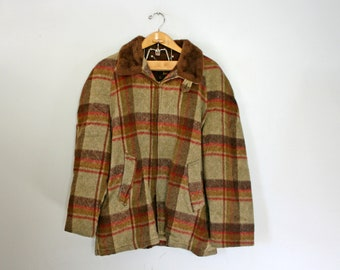 CLEARANCE vintage 60s Sir Jac Autumnal Red and Brown Plaid Wool Jacket with Faux Fur Collar