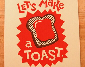 Let's Make a Toast. Breakfast Inspired Lino Block Print.