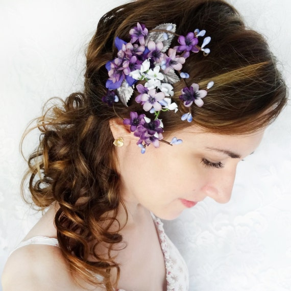 Lilac Purple Flower Hair Clip Bridal Hair Accessory Purple