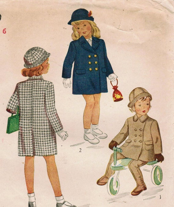 1940s Simplicity 4899 Vintage Sewing Pattern Girls Chesterfield Coat, Leggings, and Hat Size 6