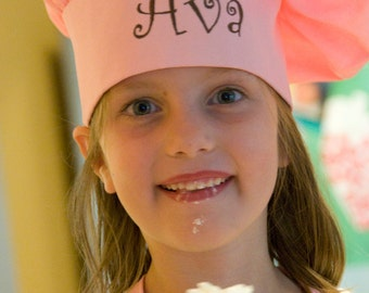 Personalized Girl's Chef Hat, Pink Monogrammed Chef Hat, Girls chef hat, Pink or White Chef Hat