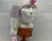 long winter hat,  knit tassel shirt, pom pom winter hat, white, pink & lavender winter hat, gir winter hat, teen hat, eco friendly