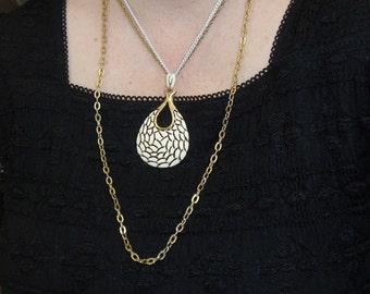 White Enamel Mosaic Pendant Triple Strand Necklace 1980s