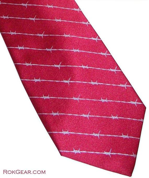 Men's necktie crimson with silver barbed wire stripes