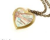 Atlanta Map Necklace, Vintage Brass Heart Locket - Ready to Ship - Gift under 40